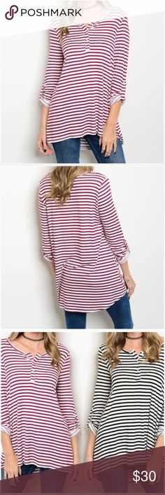 "Burgundy & Ivory Striped Henley Burgundy and Ivory Striped Henley  *Scoop Neck with 3 Buttons...Henley Style *Soft flowy material made of 95% Rayon & 5% Spandex *Hi/Low Style *Rolled Tab Sleeves *Swing Style (Gets wider toward bottom hem)  Measurements:  Small:      Bust 37"" Length: 25.5""/ 29.5"" Medium: Bust 39"" Length: 26/ 29.5"" Large:     Bust 41"" Length: 26.5/ 30.5""  ❣️Price is firm unless bundled❣️ #WFS265634    ✔️ Tops"