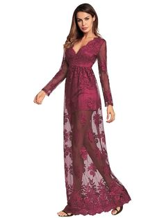 See Through Longline Lace Dress -SheIn(Sheinside)