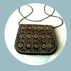 Black Velvet Beaded Evening Bag Gorgeous Bag.  Light weight & in good condtion. Bags Clutches & Wristlets