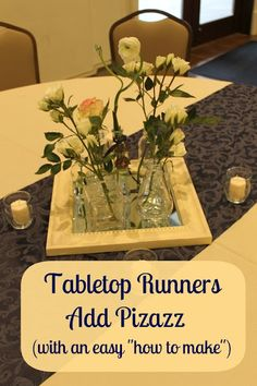 Table runner DIY...good way to stretch decorating budget for party, wedding, or home.