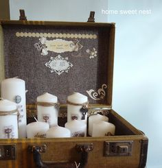 personalized candles, in a beautiful old suitcase display by Home Sweet Nest