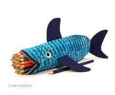 Shark Bag by MinneBites / Handmade Fish Bag - Tropical Beach Pencil Case - Art Supplies - Kids Pouch - Geeky Desk Accessory - Ready to Ship