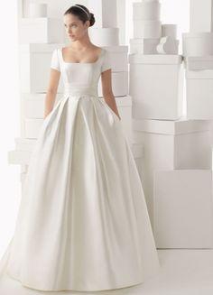 Nice Ballgown Satin Square Neckline Short Sleeves Ruffles And Flowers Chapel Train Wedding Dress