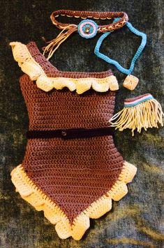 STUPID Pocahontas costume Indian boho by GreatBallzofYarn on Etsy Baby Girl Crochet, Crochet Baby Clothes, Crochet For Kids, Crochet Dress Outfits, Crochet Baby Costumes, Halloween Crochet, Halloween Kostüm, Halloween Costumes, Disney Costumes