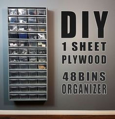How to build a very simple wall organizer using one single sheet of plywood and 48 plastic bins.