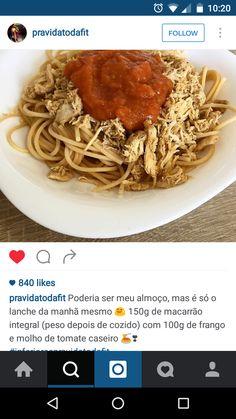 esparguete integral, frango e molho de tomate