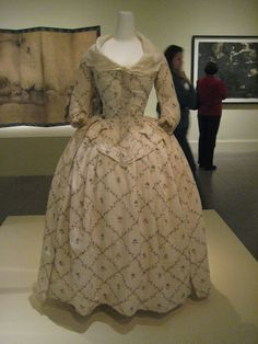 Dress Robe a l'Anglaise (closed gown), French, 1784-87,  Cotton, metal, silk