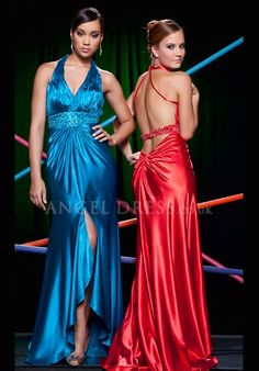 A line Halter Elastic Silk Like Satin Sleeveless High Low Backless Prom Gowns