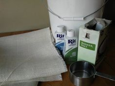 Tutorial on how to dye burlap with Rit liquid dye.