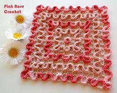 \ PINK ROSE CROCHET / Wiggly Crochet, Crochet Wool, Crochet Girls, Crochet Doilies, Crochet Patterns, Blanket, Knitting, Rose, Pink