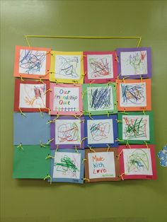 I can see quilt blocks put together like this. each block bound and finished then attached at the corners. Our classroom's friendship quilt! Preschool Projects, Classroom Fun, Preschool Classroom, Preschool Art, Classroom Activities, Preschool Activities, Friendship Crafts, Friendship Lessons, Friendship Theme Preschool