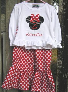 Personalized Minnie Mouse Shirt  and Matching Ruffle Pants or Capri You Pick the Fabrics. $39.99, via Etsy.