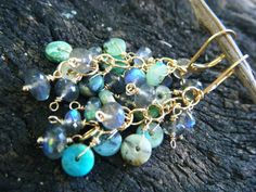 Labradorite and Peruvian Opal Cluster Earrings  by ManakbyDesign, $69.00
