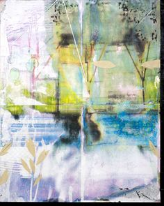 """2014 16""""x20"""" Acrylic pigment transfer, oil and collage on panel."""