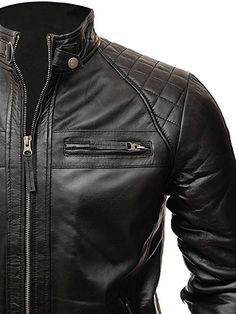 X RAY Mens Quilted Motorcycle Faux Leather Jacket Stand Up Collar Vintage Biker Leather Jacket for Men