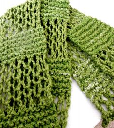 Summer Varigated Green Cotton Hand Knit, Lace Pattern Scarf Scarves