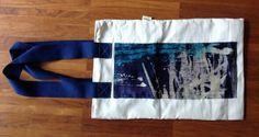 Blue batik silk bag