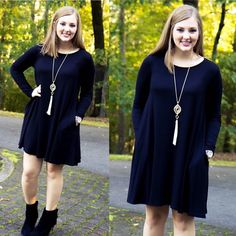 Our popular The Essentials Dress is available in long sleeves now!! Our models couldn't get over how comfy this dress was and its only $30 on www.AthenaAttire.com