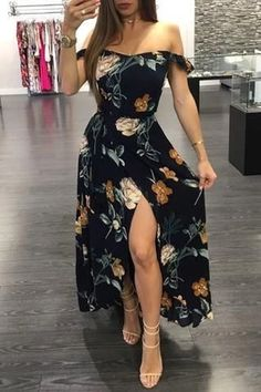 2020 Women Fashion boho floral dress black dress with embroidered flow – swetson Cute Casual Outfits, Boho Outfits, Dress Outfits, Casual Dresses, Fashion Dresses, Cute Fashion, Boho Fashion, Teen Girl Fashion, Feminine Fashion