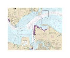 Hampton Roads Virginia Nautical Chart Vinyl Print