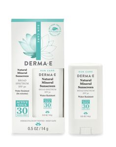 Derma E Natural Mineral Sunscreen SPF 30 Stick - SPF on-the-go. This sunscreen offers broad spectrum protection in a water-resistant formula that is Sunscreen Spf 50, Natural Sunscreen, Uva Rays, Good Massage, Broad Spectrum Sunscreen, Beauty Essentials, Active Ingredient, At Least