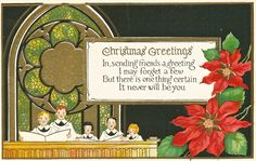 Vintage Christmas Postcard with choir and poinsettias (unused).