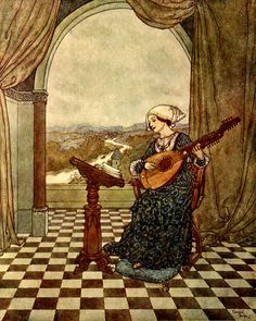 Edmund Dulac - Wind's Tale.  The Wind's Tale. She played upon the ringing lute, and sang to its tones. Stories from Hans Andersen, with illustrations by Edmund Dulac, London, Hodder & Stoughton, Ltd., 1911.