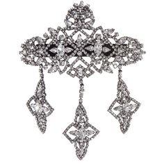 Jennifer Behr Crystal Anastasia Barrette. Gunmetal plated. Swarovski crystals. Size: 4 x 7 inches. Signed Jennifer Behr. Made in New York.