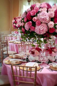 Colin Cowie Weddings - The décor was in shades of pink and gold, with towering centerpieces of hydrangeas and roses.