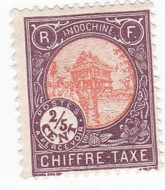 1900s IndoChine Chiffre Taxe 2/5 Cent Postage Tax Stamp by onetime, $1.25