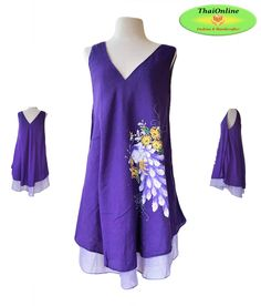 • Thai Cotton Dress in Purple, double layered, hand-painted with butterfly or peacock design.  (please note: peacock can vary in colour slightly, we will send either colour depending on stocks, please add a note to your order and we will try and match your request)    • There are more dress colours available within our store!!    • Cool and lightweight, easy to pack so just the thing for popping into your holiday suitcase.     • This dress is tunic style, loose and comfortable to wear…