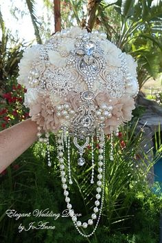 DRAPING JEWELED Brides Brooch Bouquet- DEPOSIT for this Custom Bouquet, Brides Bouquet, Brooch Bouquet, Wedding Bouquet, Cascading Bouquet Like the draped beads .not so much the bouquet itself Bouquet Bling, Wedding Brooch Bouquets, Bling Wedding, Wedding Flowers, Dream Wedding, Bouquet En Cascade, Broschen Bouquets, Pnina Tornai, Quinceanera