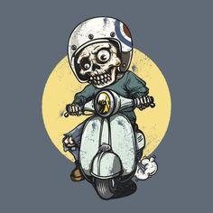 Dia De Los Muertos Wall Art - Digital Art - Scooter Skulls by Naomi Hargrave Motorcycle Art, Motorcycle Design, Moto Vespa, Vespa 300, Vespa Logo, Biker Tattoos, Cycling Art, Skull Art, Cartoon Art