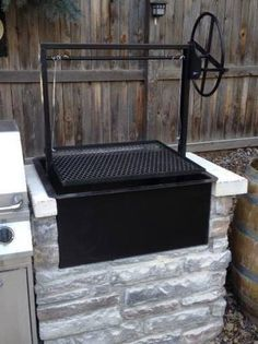 Single Crank Countertop Drop In Firebox, Steel BBQ Grill by JD Fabrications Built In Charcoal Grill, Built In Grill, Backyard Kitchen, Outdoor Kitchen Design, Outdoor Kitchens, Outdoor Cooking, Outdoor Spaces, Outdoor Kitchen Countertops, Backyard Patio