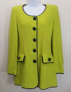 3e4fecd85 St John 6 Blazer Jacket Cardigan Sweater Lime Green Black Trim Marie Gray   StJohn