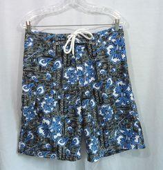 Mens MANDARIN ORANGE Black/Gray/Blue Floral Swim Trunks Board Shorts, Size 31 #MandarinOrange #BoardShorts