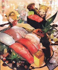 ZIS, Haikyuu!!, Haikyuu!! Food Illustration Book, Yaku Morisuke, Kozume Kenma, Kuroo Tetsurou