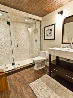 Contemporary Bathroom Design, Pictures, Remodel, Decor and Ideas - plancher Bathroom Layout, Basement Bathroom, Bathroom Flooring, Small Bathroom, Bathroom Ideas, Modern Bathroom, Shower Ideas, Guys Bathroom, Warm Bathroom