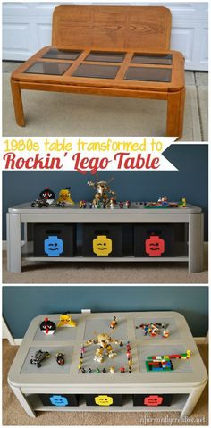 This is genuis!!  DIY Lego table makeover for those scary (if you have kids) glass top tables!!  from Infarrantly Creative.