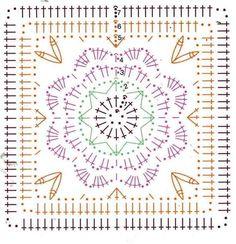 Web Server's Default Page Crochet Motif Patterns, Granny Square Crochet Pattern, Crochet Mandala, Crochet Diagram, Crochet Chart, Crochet Squares, Crochet Granny, Crochet Doilies, Crochet Flowers