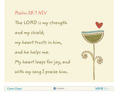 Psalm 28:7 NIV Bible Verse About Joy