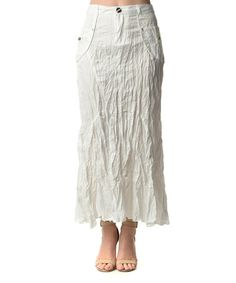 Look at this #zulilyfind! White Crinkle Maxi Skirt - Women by Style NY #zulilyfinds