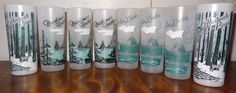 Lot of 8 Vintage 50's MICHIGAN Frosted Glasses Soo Locks, Mackinac, Hartwick