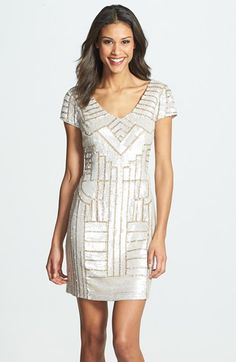 Adrianna Papell Sequin Sheath Dress at Nordstrom.com. Soft-hued sequins lend a modern geometric pattern to a gently sparkling sheath dress cut with a demure neckline and cap sleeves.