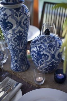 IGBY blue and white wedding table centrepiece
