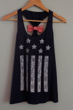 Navy Blue American Flag Tank Top with Red and White Striped Bow via Etsy