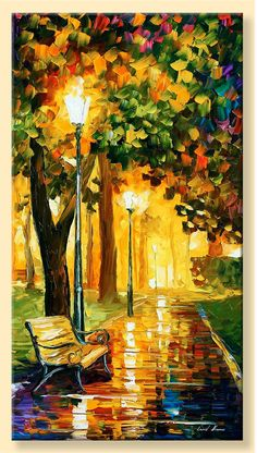 Park Lights  Limited Edition Lighted Autumn by AfremovArtStudio