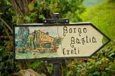 Wedding in Umbria, detail of sign to a small borgo in Montone, Umbria Italy