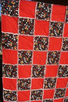 Your place to buy and sell all things handmade Mickey Mouse Quilt, Mickey Minnie Mouse, Disney Theme, Disney Fun, Rag Quilt, Quilt Blocks, Disney Quilt, Quilted Gifts, Toddler Quilt