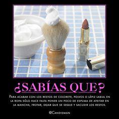 #Curiosidades #SabiasQue Para acabar con los restos de colorete, polvos o lápiz labial en la ropa sólo hace falta poner un poco de espuma de afeitar en la mancha, frotar, dejar que se seque y sacudir los restos. @candidman